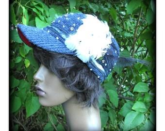 ladies cap, Boho hat, fashion hat, blue hat, news boy hat, women's cap,  # 106
