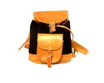 70s Vintage Backpack / Little leather Backpack / boho