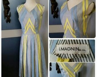 Vintage 50's 1950's day dress // Full skirt  // vintage designer // I Magnin // cotton // pinup // vlv // rockabilly