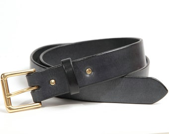 Full grain leather belt, GREY, Solid Brass buckle
