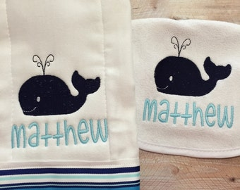 Baby Boy Whale Set- Bib and Burp Cloth with Name. Perfect newborn gift, shower gift, or to welcome baby. Everyday must have for the newborn.