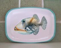 Humuhumu nuku nuku apua'a Trigger fish platter. Hawaiian fish watercolor, fish lovers gift. food platter, melamine fish plate, tropical fish