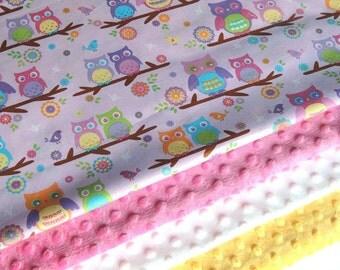 Pink Owl Minky Blanket - Purple Owl Baby Blanket - Minky Baby Blanket - Pink Owls, Purple Owls, Pink Minky Blanket - Baby Pink Owl Blanket