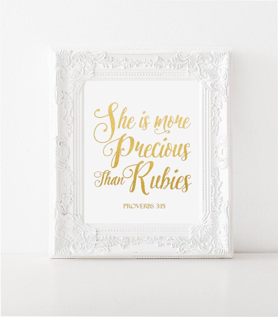 Nursery Decor She Is More Precious Than Rubies Proverb 3 15