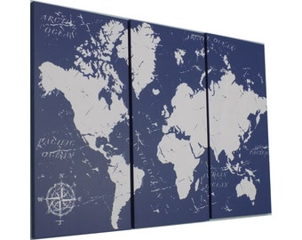 Vintage Style  WORLD MAP!!  Screen Print Wood Painting Wall Art,  Solid BIRCH 3/4 inch thick