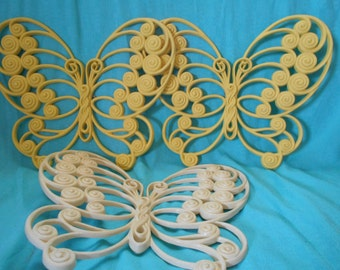 Butterfly Decor- Burwood Butterfly Wall Hangings- 3 Large Vintage Burwood Butterflies