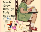 "Alphabet Flash Cards, ABC, Vintage Digital Printable for early learning, nursery decor, vintage wall art 5"" x 7"", vintage clip art children"