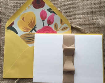 Vintage Yellow Floral Lined, Stationery Set