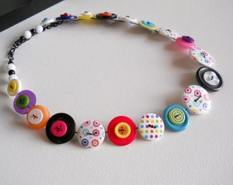 Button Necklace, Button Jewellery, Statement Necklace, Rainbow Necklace, Multicoloured Necklace, Unique Necklace, Quirky Necklace