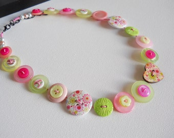 Button Necklace, Button Jewellery, Statement Necklace, Green Necklace, Pink Necklace, Unique Necklace, Handmade Necklace, Quirky Necklace