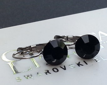 Surgical Steel Jet Leverback Earrings made with Swarovski Crystal Elements