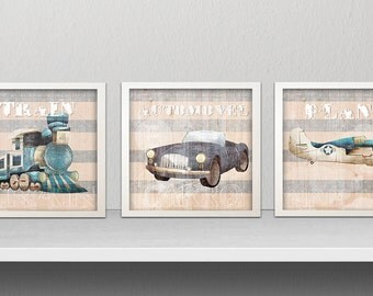Instant DOWNLOAD - Set of 3 art prints - Baby Boy Nursery Wall Art Blue plain Little Boys Room Decor