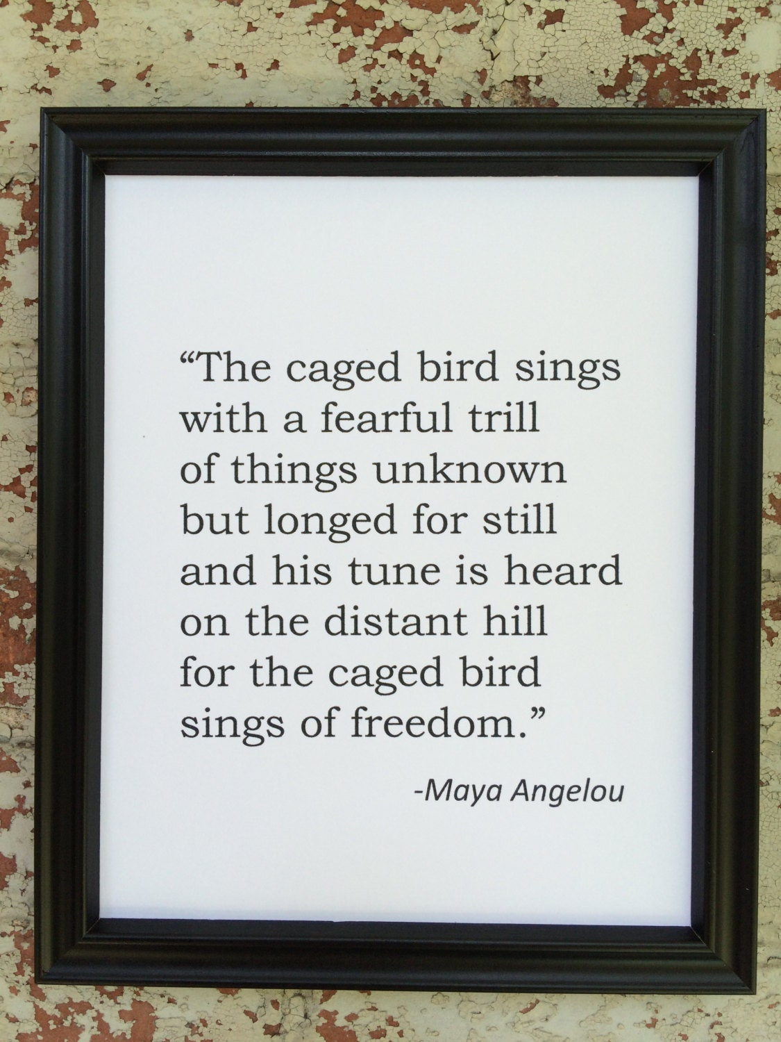 MAYA ANGELOU Caged Bird Poetry Quote Literary by 4HappyLetters