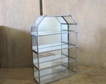 Crystal Glass & Mirror Metal vintage Vitrine miniature or jewel display