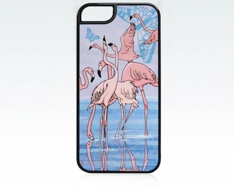 Flamingo iPhone 5 case, water and birds iPhone 5 cover, flamingo iPhone SE case, art iPhone case
