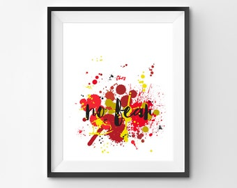"Inspirational Art Print-Abstract Modern Art ""No Fear"" Grunge Art-Bold Art-Red-Khaki-Gold-Art For Dorm Room-Unique Gift For Friend-Wall Decor"