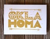 "FREE SHIPPING thru 9/13 Oklahoma 5x7"" gold and white tribal print - state pride linocut"