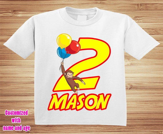 Curious George Birthday Boy or Girl T Shirt / Onesie available - Personalized with your name and age !