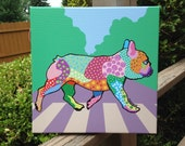 French Bulldog crosses Abby Road canvas 12 x 12 - Beatles