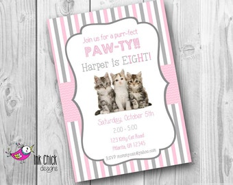 Cute Kitten Birthday Invitation, Cat Birthday Invitation, Kitten Party, Printable, Digital File