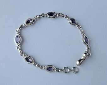 EASTER SPECIAL gift Solid 925 Sterling Silver Bracelet 7.75'' Amethyst Gemstone Jewelry-9120