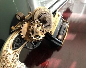 One of a kind handmade steampunk tri-barrel vacuum tube pistol costume prop