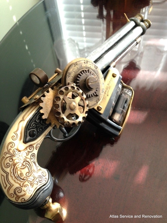 One of a kind handmade steampunk tri-barrel vacuum tube pistol costume prop