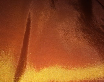 4.2 YARDS Marigold 2 tone Golden orange yellow silk taffeta fabric