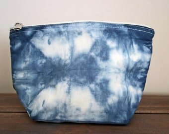 Hand Dyed Indigo Shibori Cosmetic Pouch Purse Pencil Case