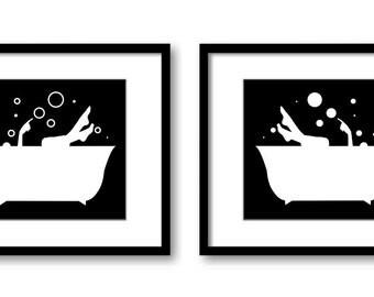 Bathroom Decor Bathroom Print Solid Black White Girls in a Bathtub Tub Set of 2 Bathroom Art Prints Wall Decor Modern Minimalist