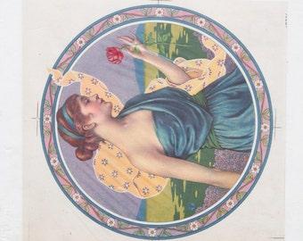 Original Vintage Art Deco Redhead Artist Proof