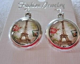 Eiffel Tower Cabochon Pendant Earrings