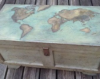 trunk coffee table, hand painted mural,  reclaimed vintage carpenter's tool box, patina paint, bulky,