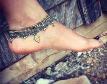 macrame Multi arm/ankle/hand bracelet  chooce your style! MACRAME bracelet with brass beads, arm band native american bohemian