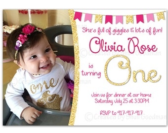 PINK and Gold First birthday Invitation - printable -  digital file - 1st birthday - first invitations - gold and pink invitation