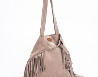Tote bag, Soft leather bag, Fringe leather tote, Shoulder Bag, Casual Bag, New Collection!
