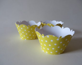 Yellow Polka Dot cupcake wrapper - available in any color you desire