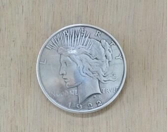 "Peace Dollar Replica Concho Western Wear 1 1/2"" Screwback - 34020"