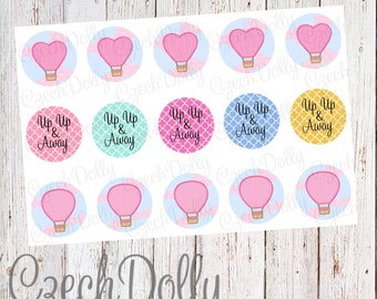 Up Up & Away Hot Air Balloon Bottle Cap Images 4x6 JPEG 1 inch Printable Bottle Cap Images {300dpi} INSTANT DOWNLOAD