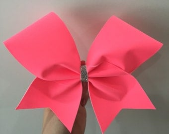 neon coral cheer bow