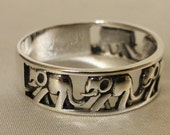 Elephant Band Ring Solid 925 Sterling Silver 7mm Band,Wisdom Gift Elephant Jewelry