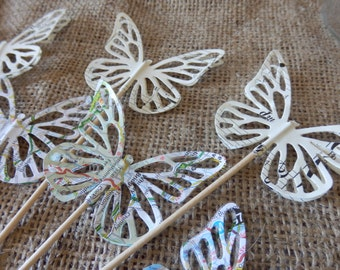 Wedding cake toppers. Butterfly cupcake picks. Butterfly cake toppers.