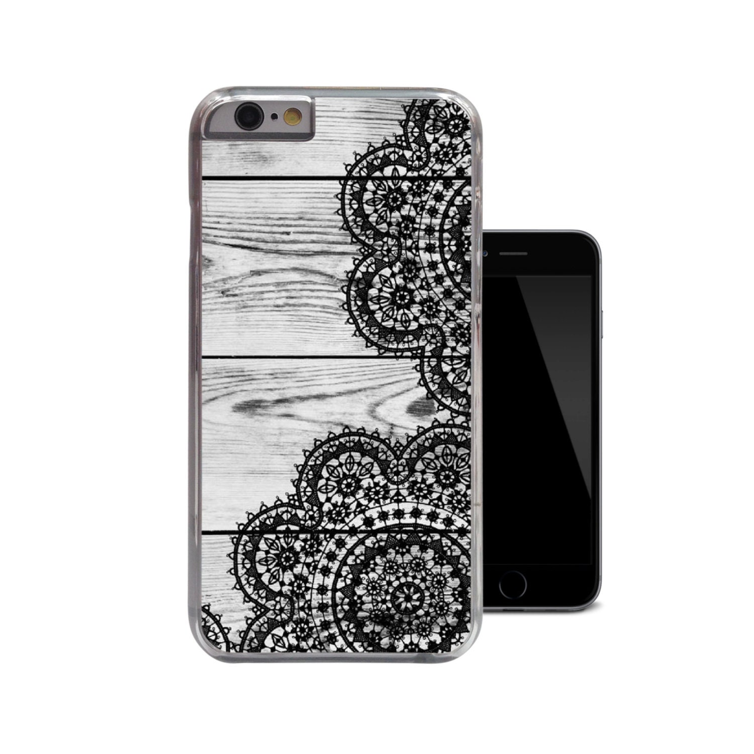Light Wood Black Lace iPhone 6 Case iPhone 5 5s Case iPhone 5c
