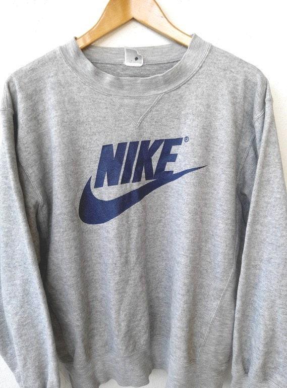 vintage nike big logo swoosh gray jumper sweater hip hop. Black Bedroom Furniture Sets. Home Design Ideas