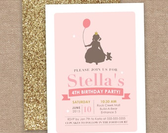 Girl Build A Bear Birthday Invitation, Silhouette and Glitter, DIY Printable