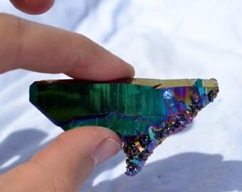 e2392x Rainbow AURAFLAME Titanium Seed Quartz Crystal Healing Cluster Large
