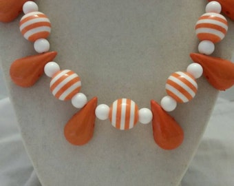 Orange and White Striped Necklace White and Orange Striped Necklace White and Orange Necklace Orange and White Necklace Beach Necklace