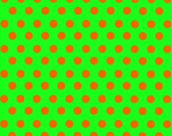 Green and orange polka dot pattern craft  vinyl sheet - HTV or Adhesive Vinyl -  medium polka dots HTV1660