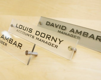 Personalized Office DESK SIGN Name Plate. Modern Stainless Steel Legs  with 4 Plate Colors to choose from.