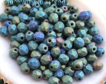 4mm Matte Iris Green (3018) Czech Fire Polished Beads 50/100/150 pieces